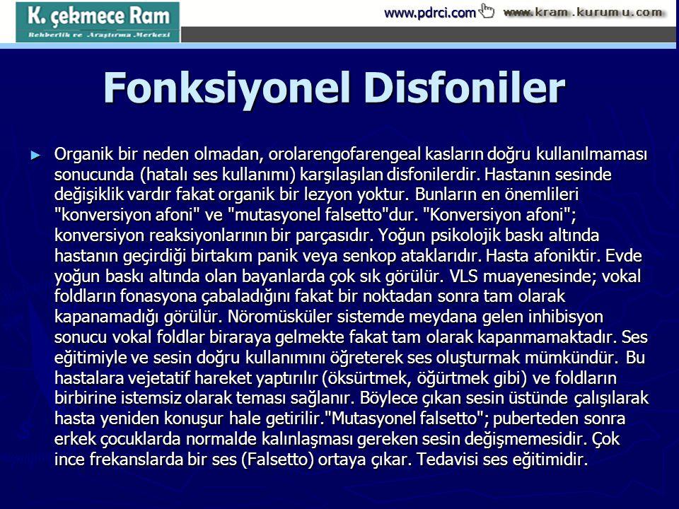 www.pdrci.com Fonksiyonel Disfoniler Fonksiyonel Disfoniler ► Organik bir neden olmadan, orolarengofarengeal kasların doğru kullanılmaması sonucunda (