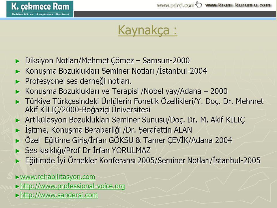 www.pdrci.com Kaynakça : ► Diksiyon Notları/Mehmet Çömez – Samsun-2000 ► Konuşma Bozuklukları Seminer Notları /İstanbul-2004 ► Profesyonel ses derneği