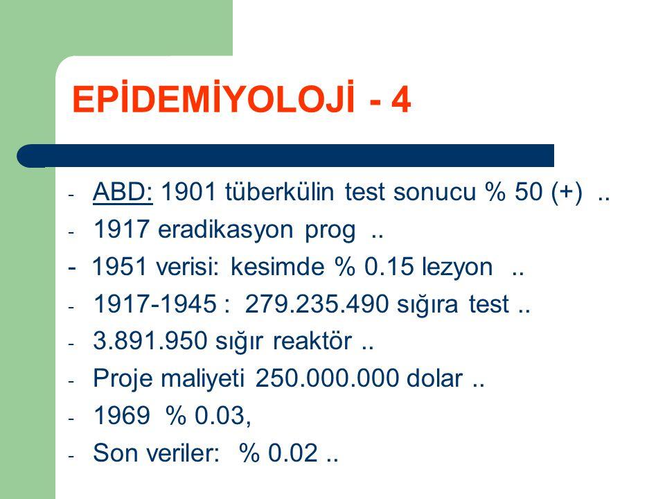 - ABD: 1901 tüberkülin test sonucu % 50 (+).. - 1917 eradikasyon prog.. - 1951 verisi: kesimde % 0.15 lezyon.. - 1917-1945 : 279.235.490 sığıra test..