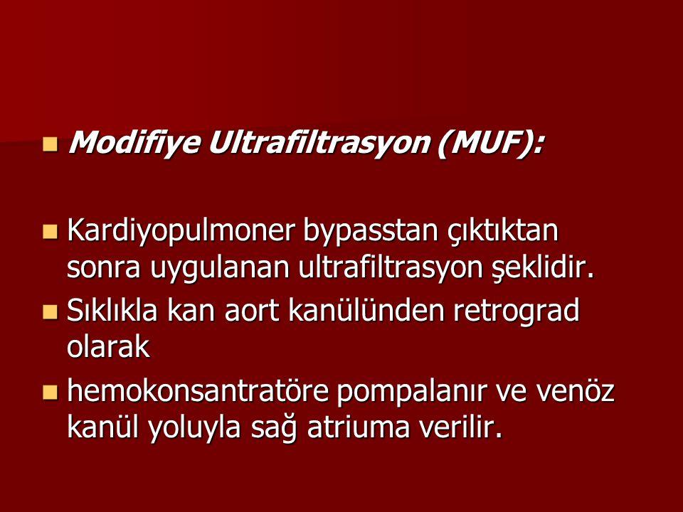 Modifiye Ultrafiltrasyon (MUF): Modifiye Ultrafiltrasyon (MUF): Kardiyopulmoner bypasstan çıktıktan sonra uygulanan ultrafiltrasyon şeklidir. Kardiyop