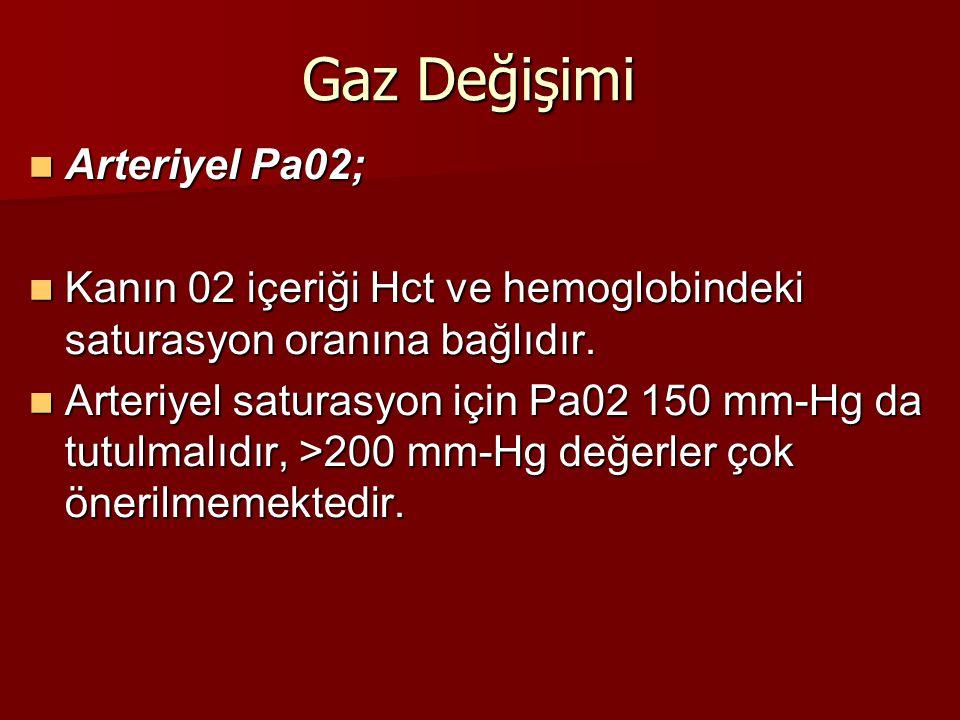 Gaz Değişimi Arteriyel Pa02; Arteriyel Pa02; Kanın 02 içeriği Hct ve hemoglobindeki saturasyon oranına bağlıdır. Kanın 02 içeriği Hct ve hemoglobindek