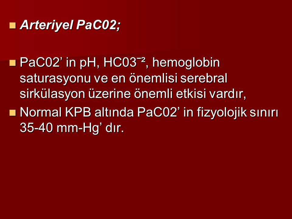Arteriyel PaC02; Arteriyel PaC02; PaC02' in pH, HC03ˉ², hemoglobin saturasyonu ve en önemlisi serebral sirkülasyon üzerine önemli etkisi vardır, PaC02