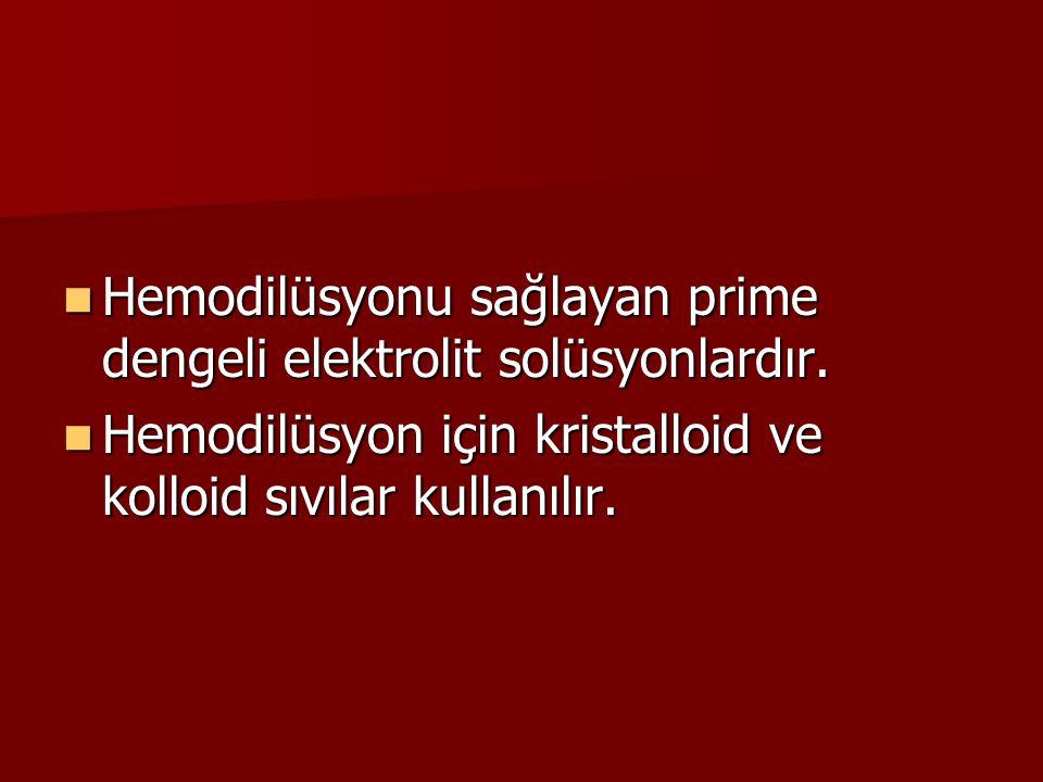 Hemodilüsyonu sağlayan prime dengeli elektrolit solüsyonlardır. Hemodilüsyonu sağlayan prime dengeli elektrolit solüsyonlardır. Hemodilüsyon için kris