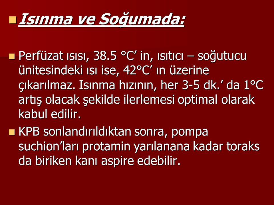 Isınma ve Soğumada: Isınma ve Soğumada: Perfüzat ısısı, 38.5 °C' in, ısıtıcı – soğutucu ünitesindeki ısı ise, 42°C' ın üzerine çıkarılmaz. Isınma hızı