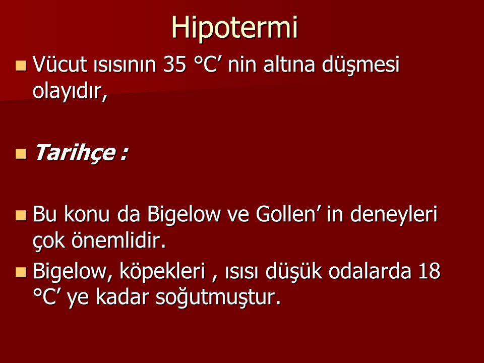Hipotermi Vücut ısısının 35 °C' nin altına düşmesi olayıdır, Vücut ısısının 35 °C' nin altına düşmesi olayıdır, Tarihçe : Tarihçe : Bu konu da Bigelow