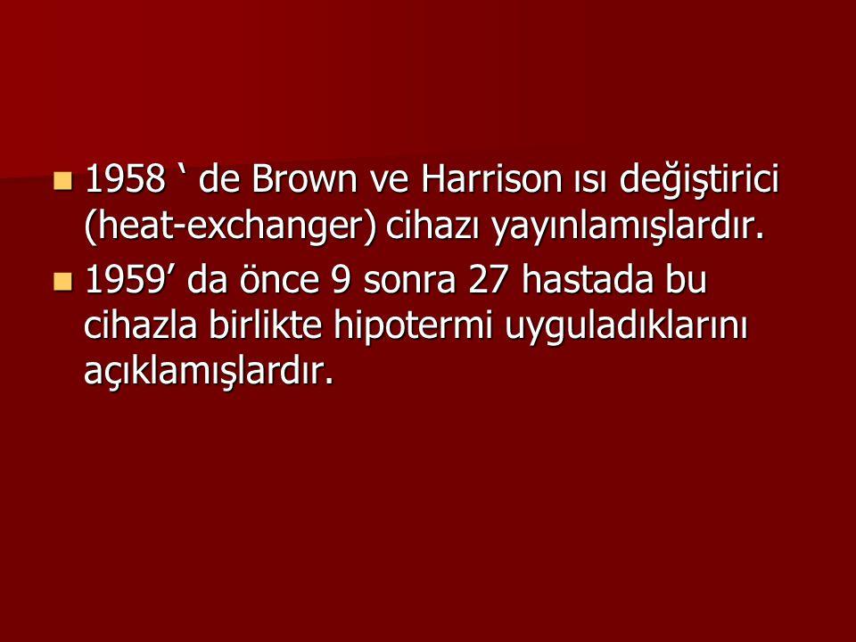 1958 ' de Brown ve Harrison ısı değiştirici (heat-exchanger) cihazı yayınlamışlardır. 1958 ' de Brown ve Harrison ısı değiştirici (heat-exchanger) cih