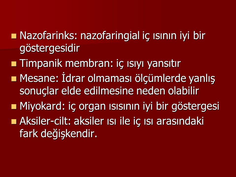 Nazofarinks: nazofaringial iç ısının iyi bir göstergesidir Nazofarinks: nazofaringial iç ısının iyi bir göstergesidir Timpanik membran: iç ısıyı yansı