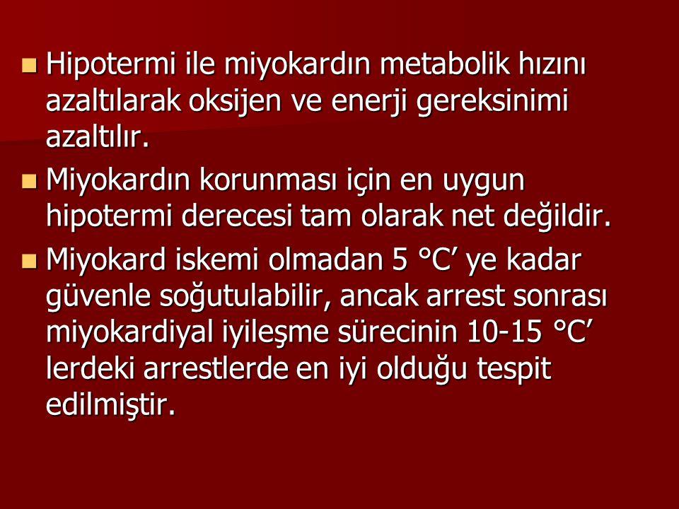 Hipotermi ile miyokardın metabolik hızını azaltılarak oksijen ve enerji gereksinimi azaltılır. Hipotermi ile miyokardın metabolik hızını azaltılarak o