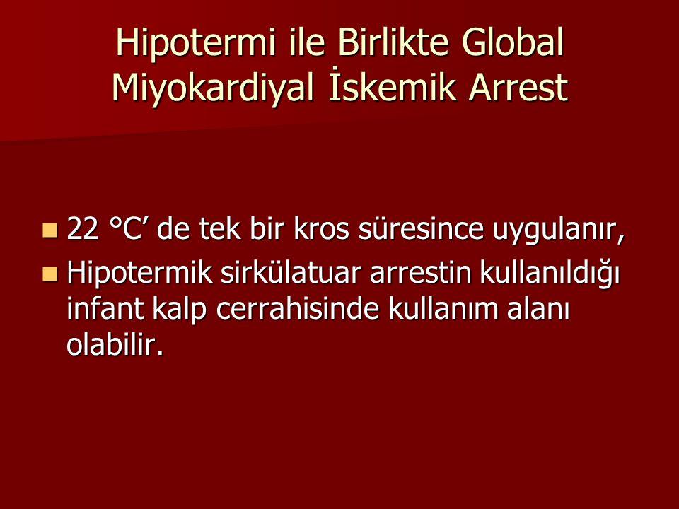 Hipotermi ile Birlikte Global Miyokardiyal İskemik Arrest 22 °C' de tek bir kros süresince uygulanır, 22 °C' de tek bir kros süresince uygulanır, Hipo