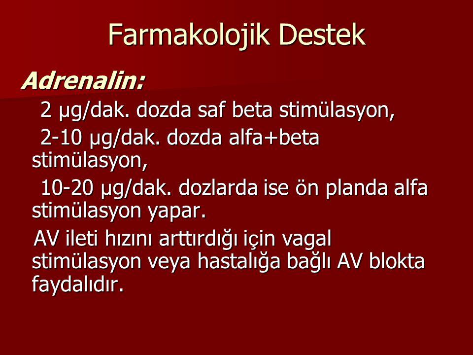 Farmakolojik Destek Adrenalin: Adrenalin: 2 µ g/dak. dozda saf beta stim ü lasyon, 2 µ g/dak. dozda saf beta stim ü lasyon, 2-10 µ g/dak. dozda alfa+b