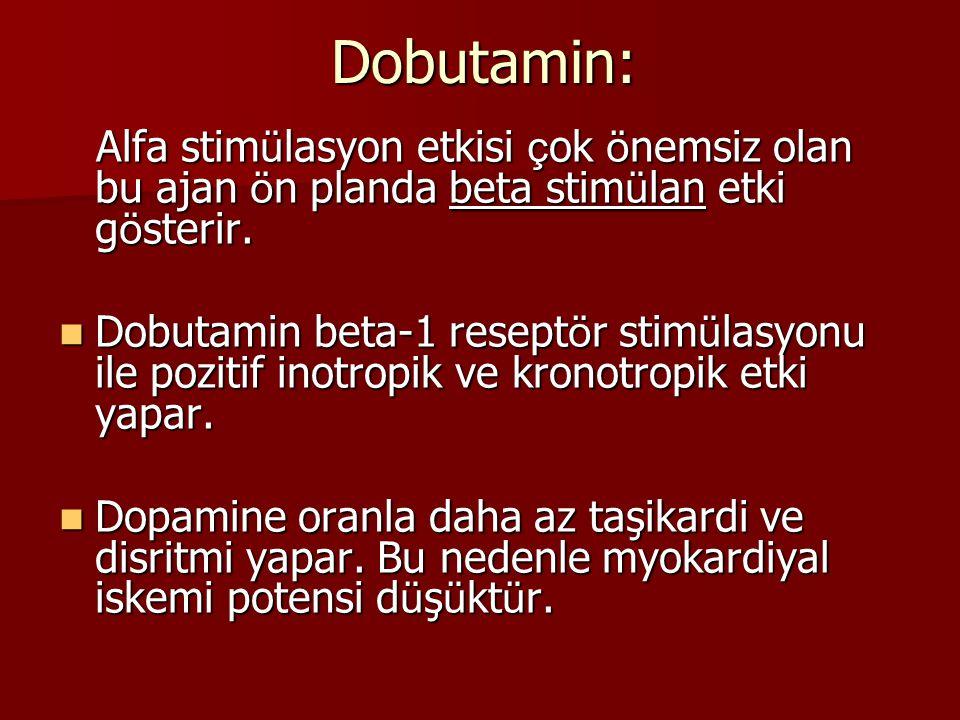 Dobutamin: Alfa stim ü lasyon etkisi ç ok ö nemsiz olan bu ajan ö n planda beta stim ü lan etki g ö sterir. Alfa stim ü lasyon etkisi ç ok ö nemsiz ol