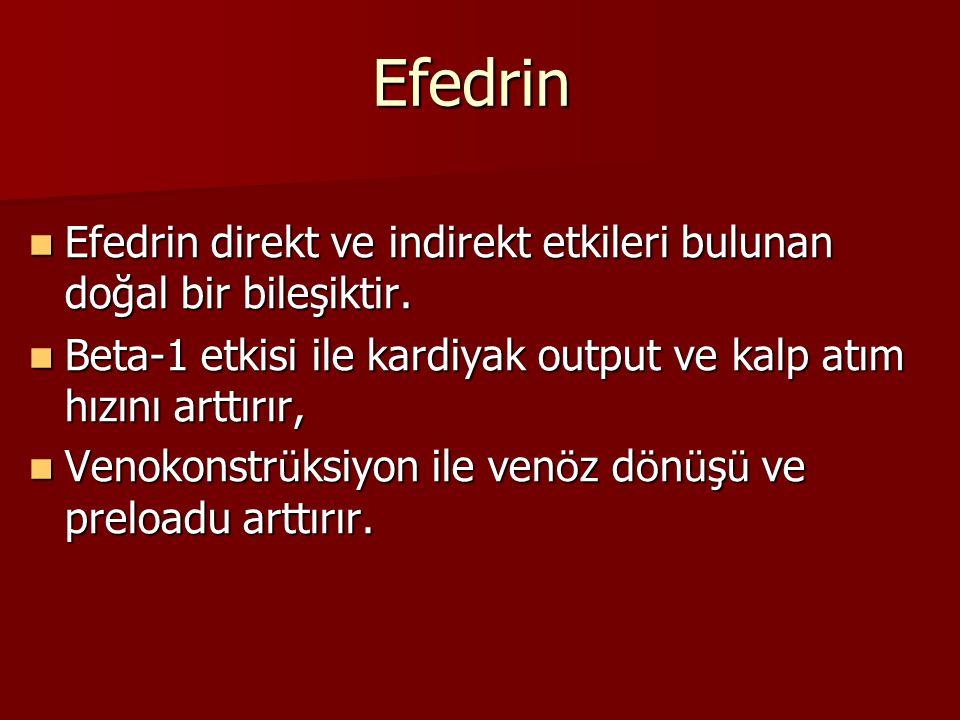 Efedrin Efedrin direkt ve indirekt etkileri bulunan doğal bir bileşiktir. Efedrin direkt ve indirekt etkileri bulunan doğal bir bileşiktir. Beta-1 etk