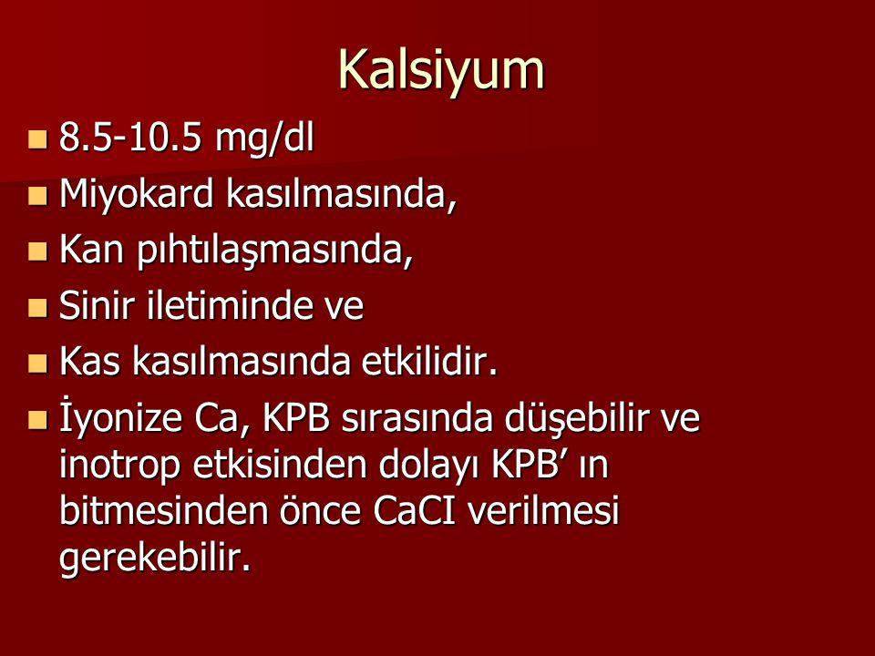 Kalsiyum 8.5-10.5 mg/dl 8.5-10.5 mg/dl Miyokard kasılmasında, Miyokard kasılmasında, Kan pıhtılaşmasında, Kan pıhtılaşmasında, Sinir iletiminde ve Sin