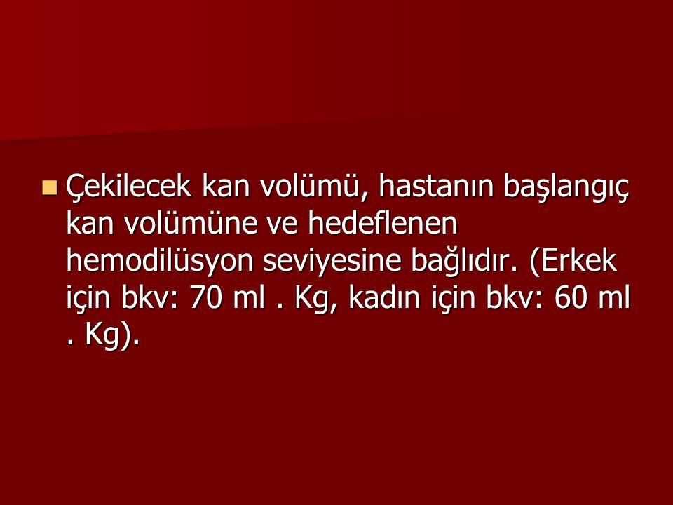 Çekilecek kan volümü, hastanın başlangıç kan volümüne ve hedeflenen hemodilüsyon seviyesine bağlıdır. (Erkek için bkv: 70 ml. Kg, kadın için bkv: 60 m