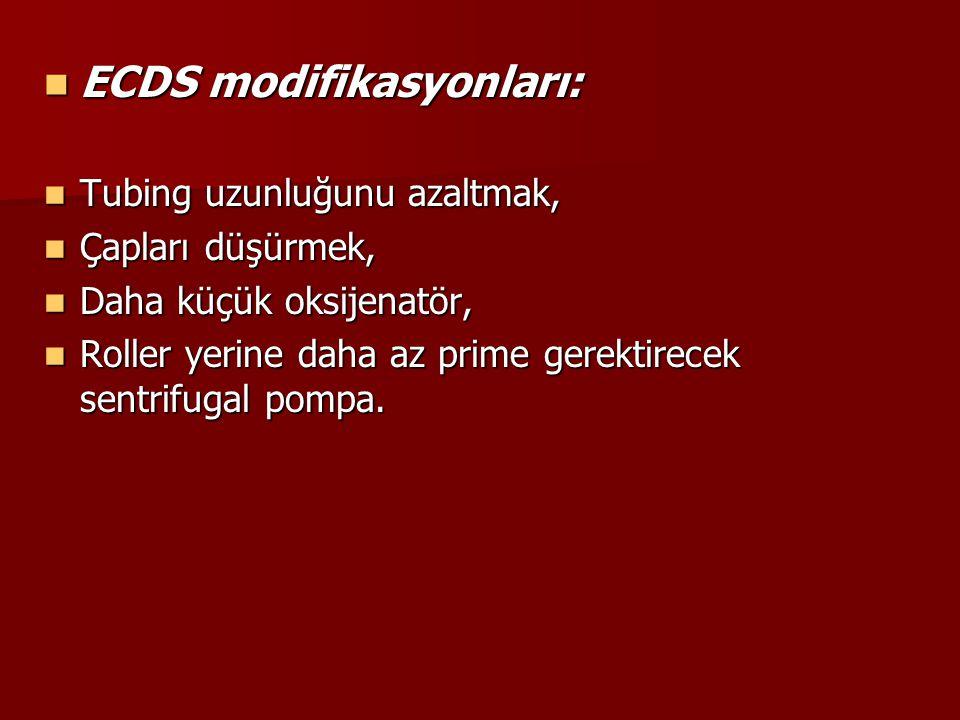ECDS modifikasyonları: ECDS modifikasyonları: Tubing uzunluğunu azaltmak, Tubing uzunluğunu azaltmak, Çapları düşürmek, Çapları düşürmek, Daha küçük o