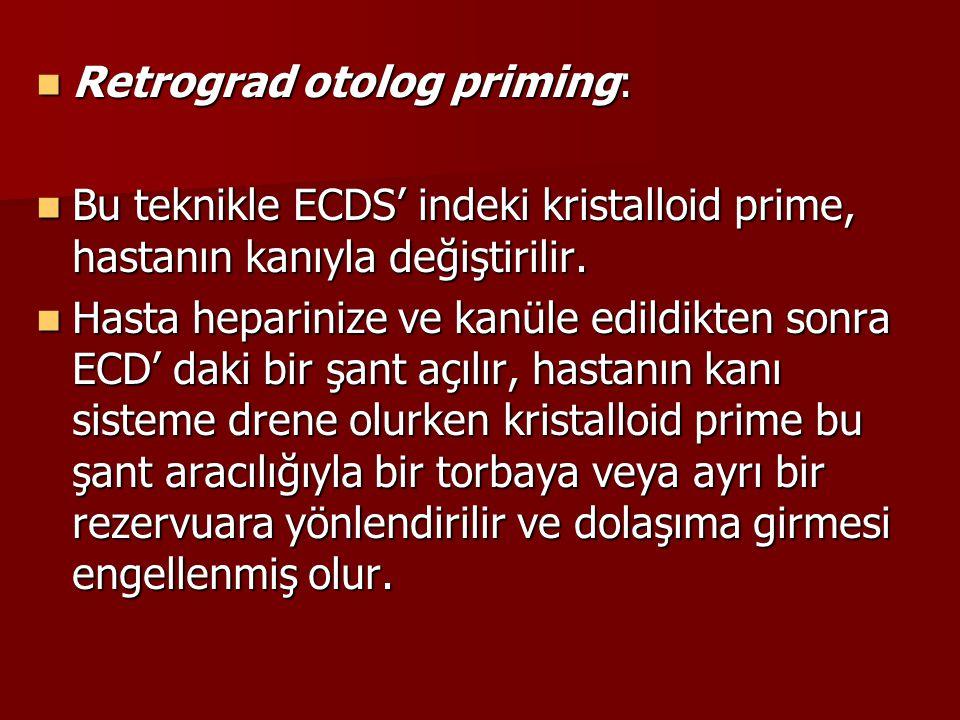 Retrograd otolog priming: Retrograd otolog priming: Bu teknikle ECDS' indeki kristalloid prime, hastanın kanıyla değiştirilir. Bu teknikle ECDS' indek