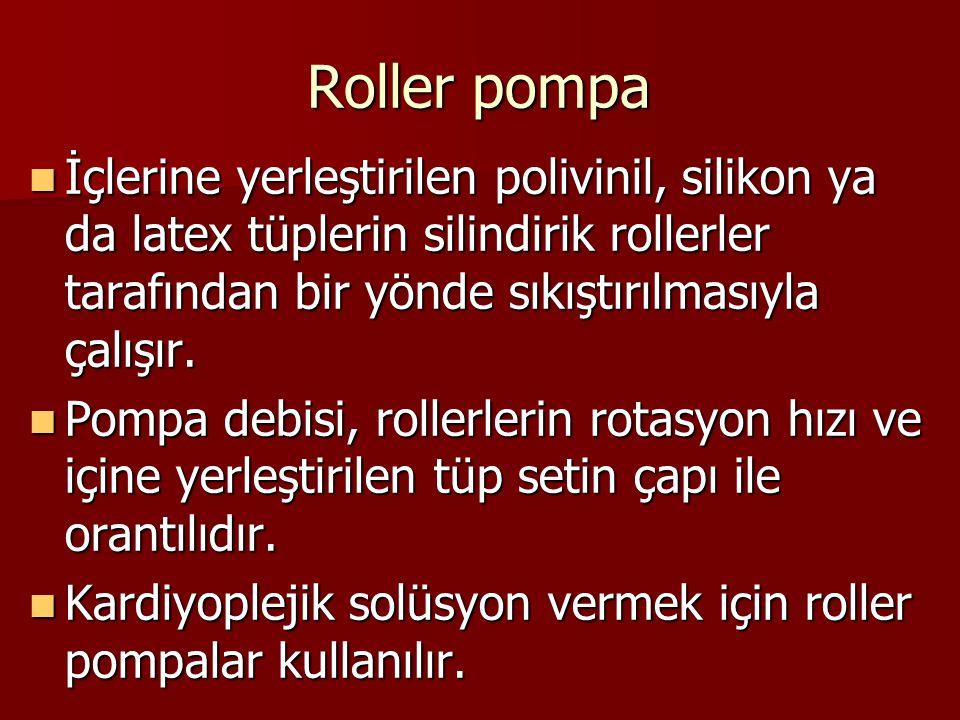 Roller pompa İçlerine yerleştirilen polivinil, silikon ya da latex tüplerin silindirik rollerler tarafından bir yönde sıkıştırılmasıyla çalışır. İçler
