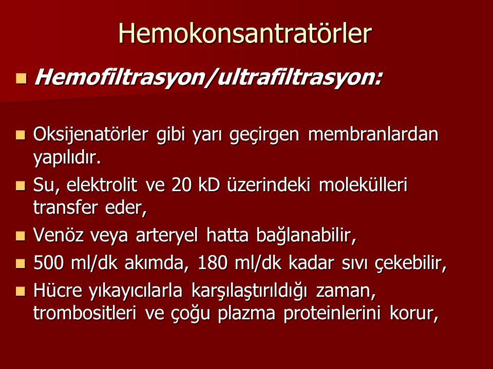 Hemokonsantratörler Hemofiltrasyon/ultrafiltrasyon: Hemofiltrasyon/ultrafiltrasyon: Oksijenatörler gibi yarı geçirgen membranlardan yapılıdır. Oksijen