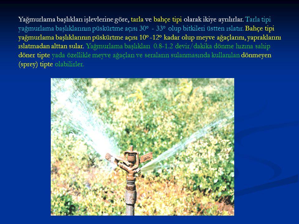 Yağmurlama başlıkları işlevlerine göre, tarla ve bahçe tipi olarak ikiye ayrılırlar. Tarla tipi yağmurlama başlıklarının püskürtme açısı 30 o - 33 o o
