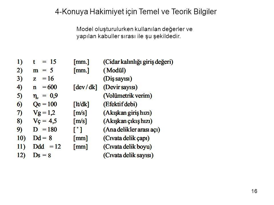 16 Model oluşturulurken kullanılan değerler ve yapılan kabuller sırası ile şu şekildedir. 4-Konuya Hakimiyet için Temel ve Teorik Bilgiler