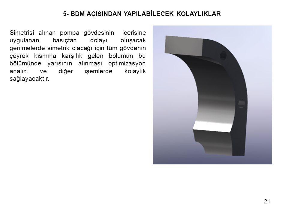 21 Simetrisi alınan pompa gövdesinin içerisine uygulanan basıçtan dolayı oluşacak gerilmelerde simetrik olacağı için tüm gövdenin çeyrek kısmına karşı