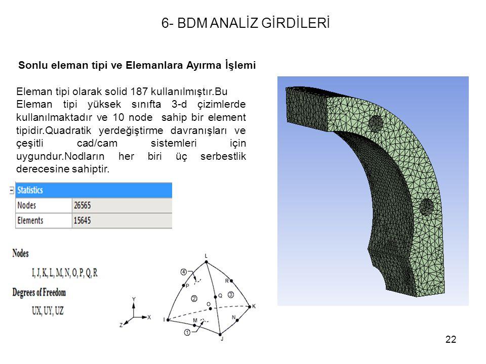 22 Sonlu eleman tipi ve Elemanlara Ayırma İşlemi Eleman tipi olarak solid 187 kullanılmıştır.Bu Eleman tipi yüksek sınıfta 3-d çizimlerde kullanılmakt