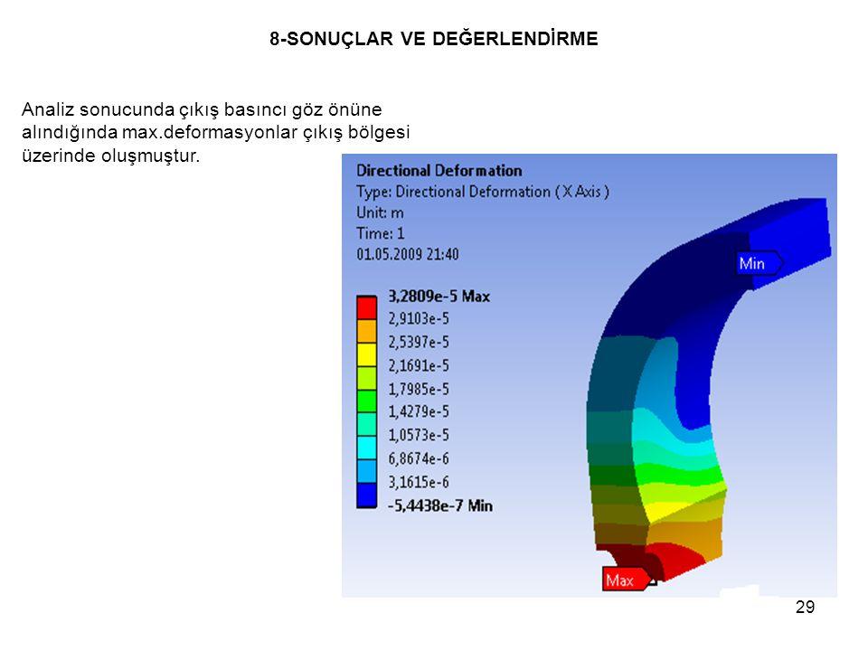 29 8-SONUÇLAR VE DEĞERLENDİRME Analiz sonucunda çıkış basıncı göz önüne alındığında max.deformasyonlar çıkış bölgesi üzerinde oluşmuştur.