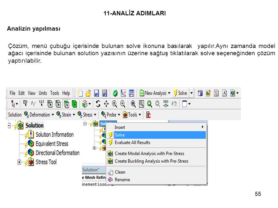 55 11-ANALİZ ADIMLARI Çözüm, menü çubuğu içerisinde bulunan solve ikonuna basılarak yapılır.Aynı zamanda model ağacı içerisinde bulunan solution yazıs