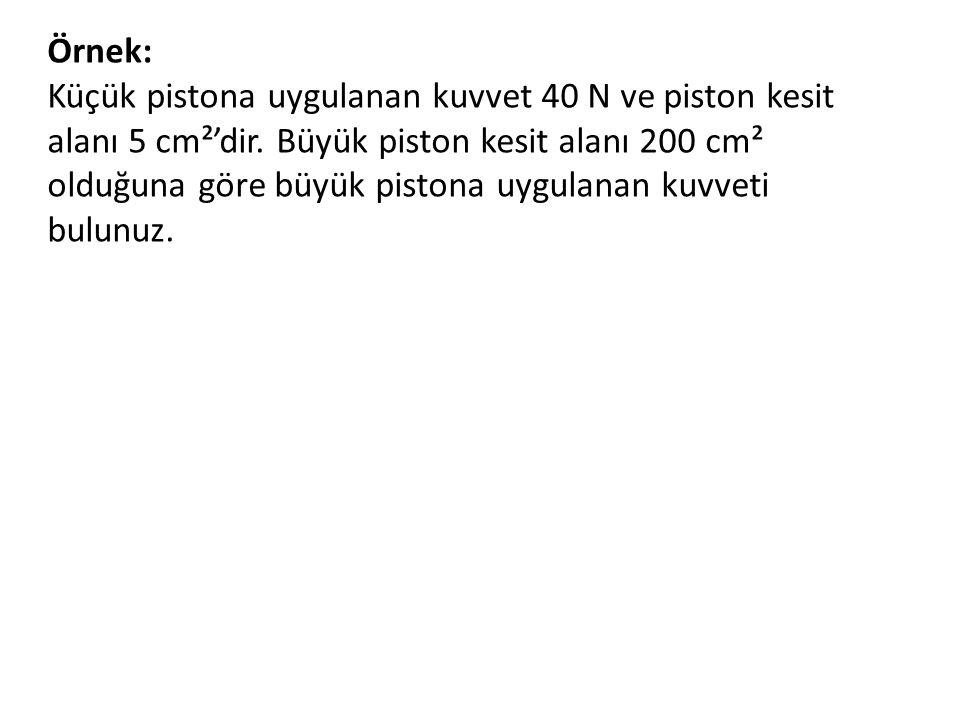 Örnek: Küçük pistona uygulanan kuvvet 40 N ve piston kesit alanı 5 cm²'dir.