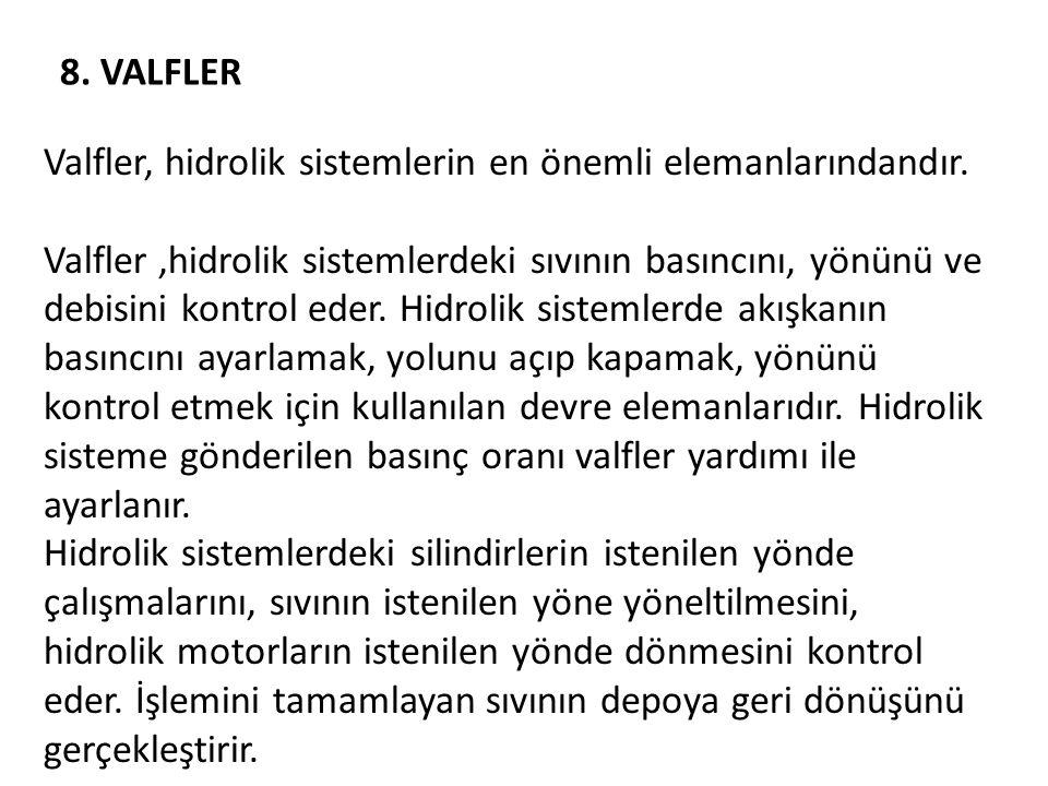8.VALFLER Valfler, hidrolik sistemlerin en önemli elemanlarındandır.