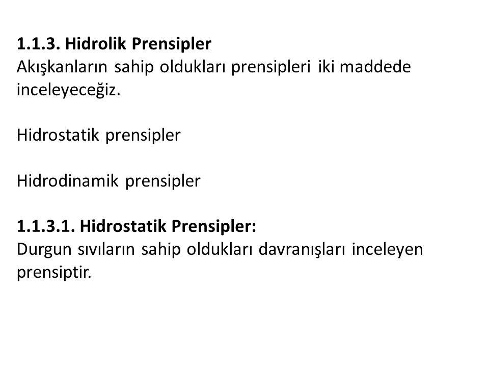 1.1.3.Hidrolik Prensipler Akışkanların sahip oldukları prensipleri iki maddede inceleyeceğiz.