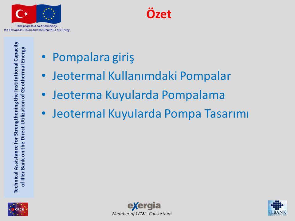 Member of Consortium This project is co-financed by the European Union and the Republic of Turkey Pompa Çeşitleri Çalışma sistemi: Santrifüjlü Pompalar Pozitif Deplasmanlı Pompalar Pozisyon: Yatay Pompalar Dikey Pompalar