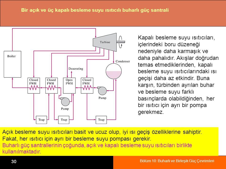 Bölüm 10: Buharlı ve Birleşik Güç Çevrimleri 30 Bir açık ve üç kapalı besleme suyu ısıtıcılı buharlı güç santrali Kapalı besleme suyu ısıtıcıları, içl