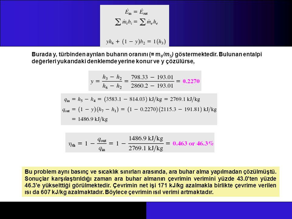 Burada y, türbinden ayrılan buharın oranını (= m 6 /m 5 ) göstermektedir. Bulunan entalpi değerleri yukarıdaki denklemde yerine konur ve y çözülürse,