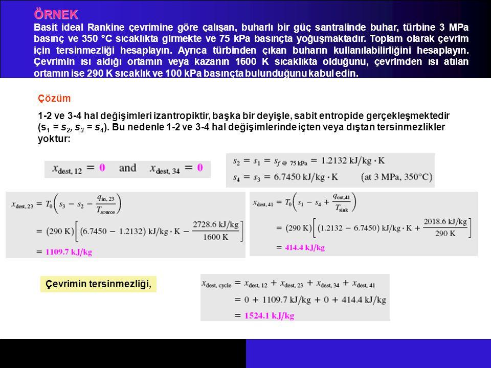 ÖRNEK Çözüm 1-2 ve 3-4 hal değişimleri izantropiktir, başka bir deyişle, sabit entropide gerçekleşmektedir (s 1 = s 2, s 3 = s 4 ). Bu nedenle 1-2 ve