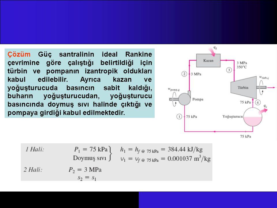 Çözüm Güç santralinin ideal Rankine çevrimine göre çalıştığı belirtildiği için türbin ve pompanın izantropik oldukları kabul edilebilir. Ayrıca kazan