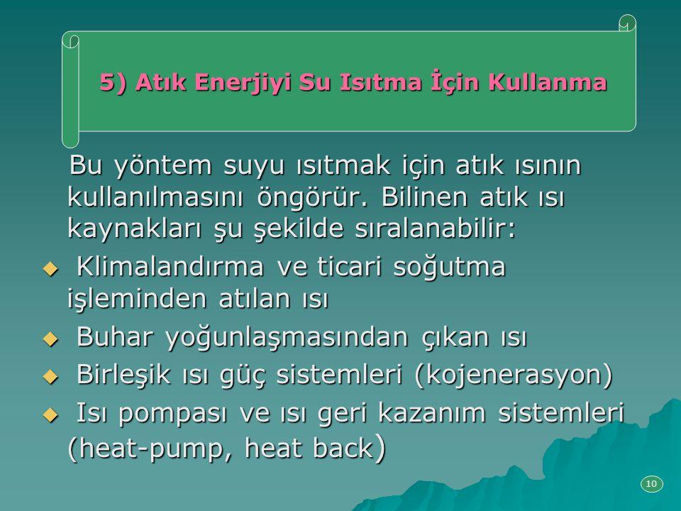Bu yöntem suyu ısıtmak için atık ısının kullanılmasını öngörür. Bilinen atık ısı kaynakları şu şekilde sıralanabilir: Bu yöntem suyu ısıtmak için atık