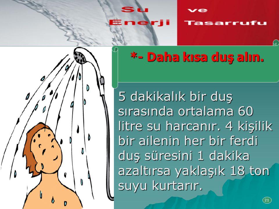5 dakikalık bir duş sırasında ortalama 60 litre su harcanır. 4 kişilik bir ailenin her bir ferdi duş süresini 1 dakika azaltırsa yaklaşık 18 ton suyu