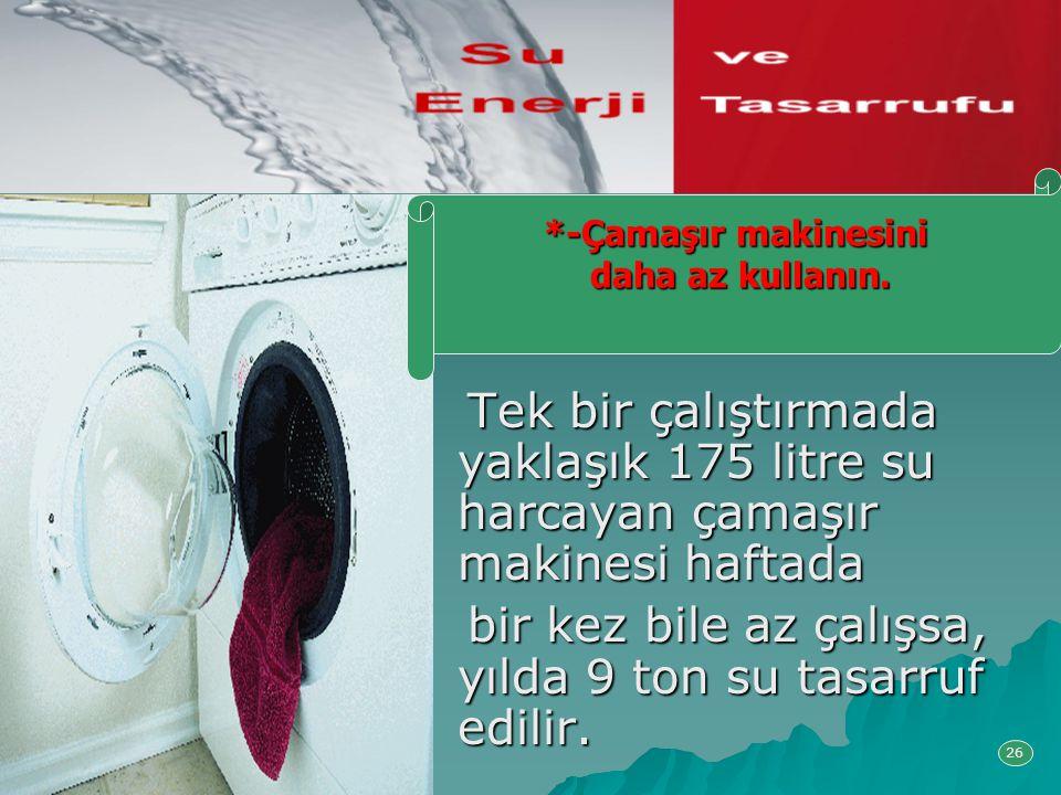 Tek bir çalıştırmada yaklaşık 175 litre su harcayan çamaşır makinesi haftada Tek bir çalıştırmada yaklaşık 175 litre su harcayan çamaşır makinesi haft
