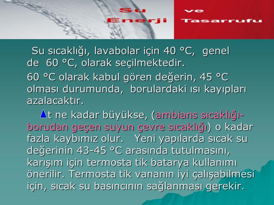 Su sıcaklığı, lavabolar için 40 °C, genel de 60 °C, olarak seçilmektedir. Su sıcaklığı, lavabolar için 40 °C, genel de 60 °C, olarak seçilmektedir. 60