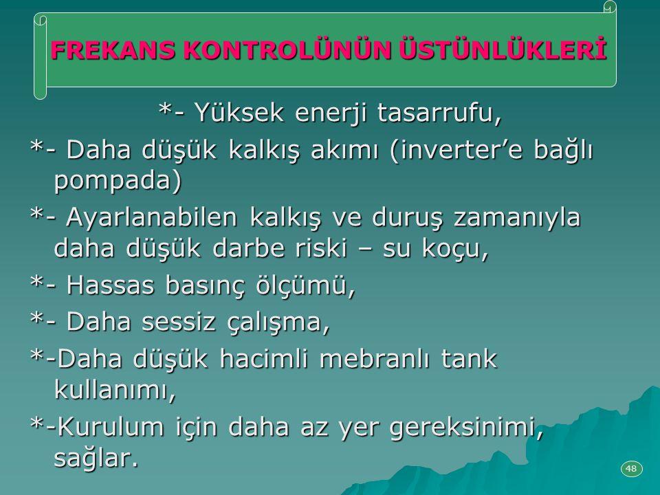 *- Yüksek enerji tasarrufu, *- Daha düşük kalkış akımı (inverter'e bağlı pompada) *- Ayarlanabilen kalkış ve duruş zamanıyla daha düşük darbe riski –