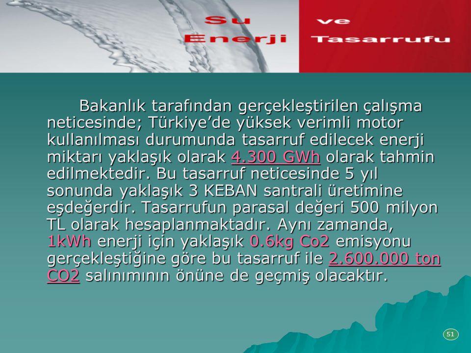 Bakanlık tarafından gerçekleştirilen çalışma neticesinde; Türkiye'de yüksek verimli motor kullanılması durumunda tasarruf edilecek enerji miktarı yakl