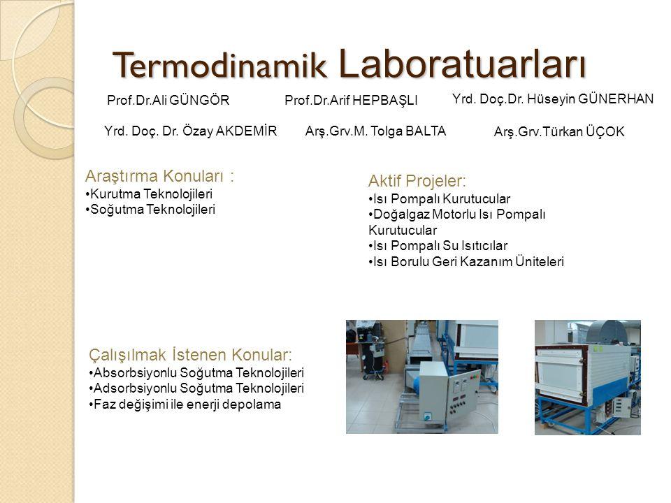 Termodinamik Laboratuarları Araştırma Konuları : Kurutma Teknolojileri Soğutma Teknolojileri Aktif Projeler: Isı Pompalı Kurutucular Doğalgaz Motorlu