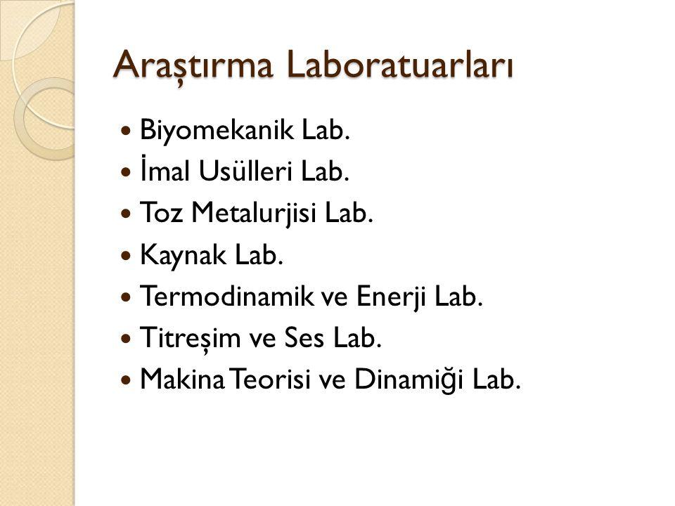 Araştırma Laboratuarları Biyomekanik Lab. İ mal Usülleri Lab. Toz Metalurjisi Lab. Kaynak Lab. Termodinamik ve Enerji Lab. Titreşim ve Ses Lab. Makina