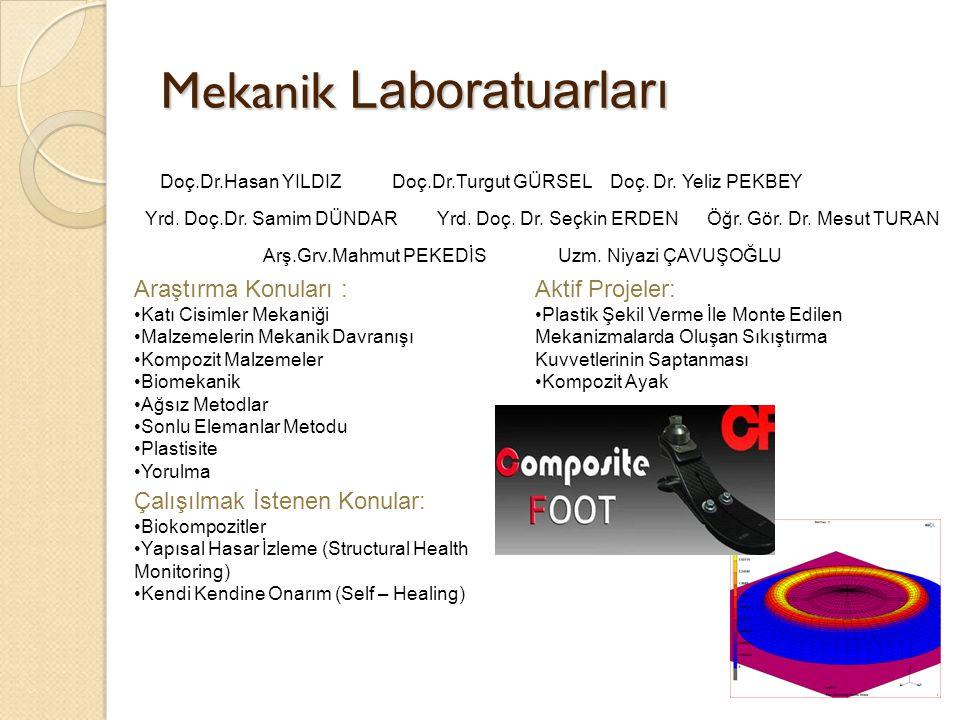 Mekanik Laboratuarları Doç.Dr.Hasan YILDIZDoç.Dr.Turgut GÜRSEL Yrd. Doç.Dr. Samim DÜNDAR Doç. Dr. Yeliz PEKBEY Öğr. Gör. Dr. Mesut TURANYrd. Doç. Dr.