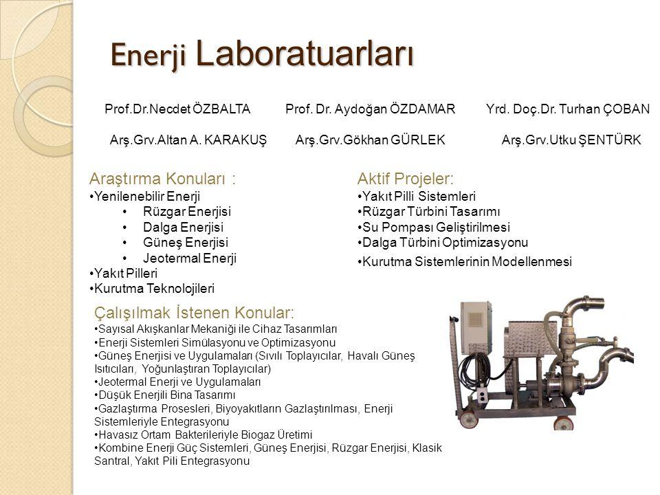 Termodinamik Laboratuarları Araştırma Konuları : Kurutma Teknolojileri Soğutma Teknolojileri Aktif Projeler: Isı Pompalı Kurutucular Doğalgaz Motorlu Isı Pompalı Kurutucular Isı Pompalı Su Isıtıcılar Isı Borulu Geri Kazanım Üniteleri Çalışılmak İstenen Konular: Absorbsiyonlu Soğutma Teknolojileri Adsorbsiyonlu Soğutma Teknolojileri Faz değişimi ile enerji depolama Prof.Dr.Ali GÜNGÖRProf.Dr.Arif HEPBAŞLI Yrd.