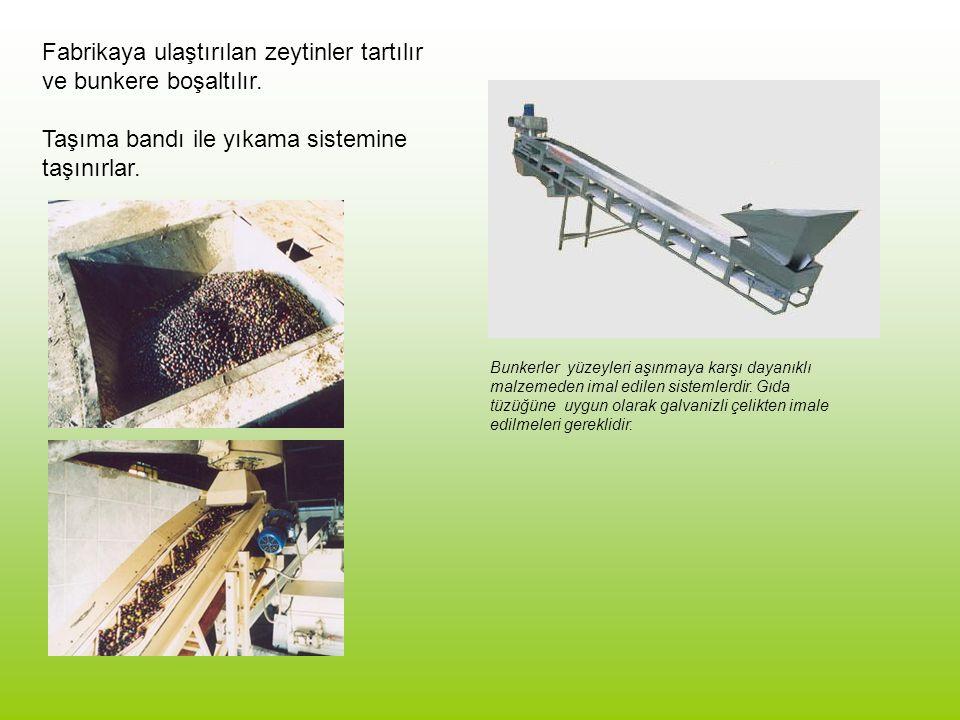 Fabrikaya ulaştırılan zeytinler tartılır ve bunkere boşaltılır. Taşıma bandı ile yıkama sistemine taşınırlar. Bunkerler yüzeyleri aşınmaya karşı dayan