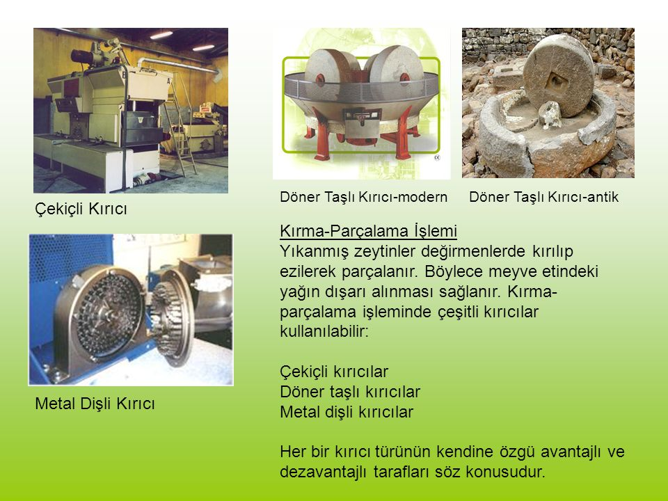 Hakkı Usta, Aydın 20T Inox Kapasite625 - 917 kg/sa zeytin Kurulu Güç41.51 Kw Elektrik tüketimi15 – 20 Kw/sa Su tüketimi300 – 500 lt/sa Küçük yağ tesisleri için bir örnek