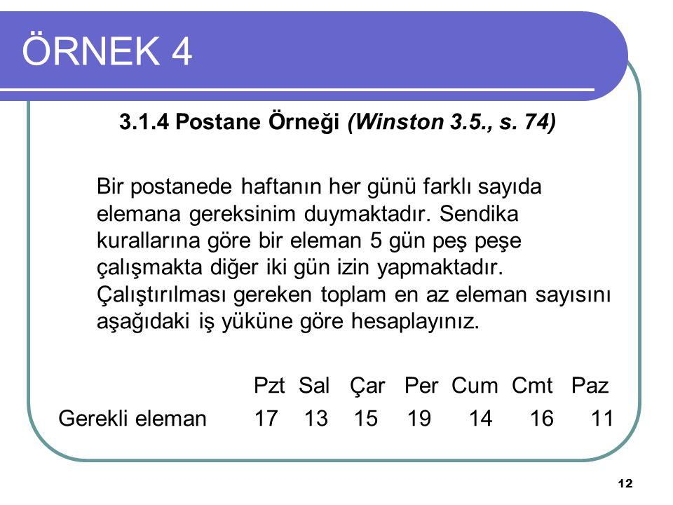 12 ÖRNEK 4 3.1.4 Postane Örneği (Winston 3.5., s. 74) Bir postanede haftanın her günü farklı sayıda elemana gereksinim duymaktadır. Sendika kuralların