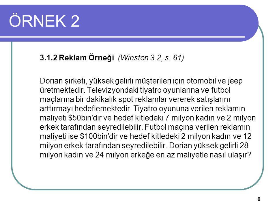 6 ÖRNEK 2 3.1.2 Reklam Örneği (Winston 3.2, s. 61) Dorian şirketi, yüksek gelirli müşterileri için otomobil ve jeep üretmektedir. Televizyondaki tiyat